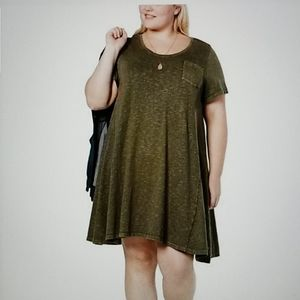NWOT Style and Co flowy olive wash t-shirt dress